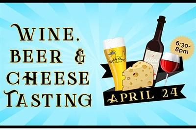 Wine, Beer & Cheese Tasting poster