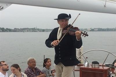 Tom Guay aboard the Schooner Woodwind