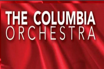 The Columbia Orchestra banner on red silk