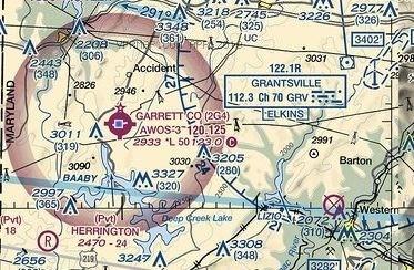 Map showing Garrett County Airport