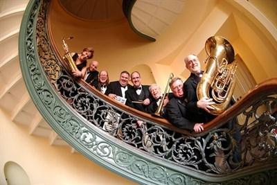 Peabody Ragtime Ensemble on an elegant staircase