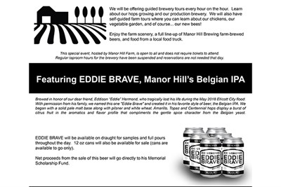 Eddie Brave Belgian IPA and Special Event flyer