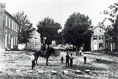 Very early photo of people in Sharpsburg, Maryland