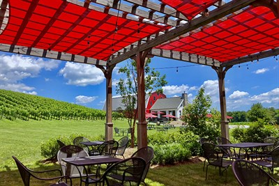 A Red Pergola at Catoctin Breeze