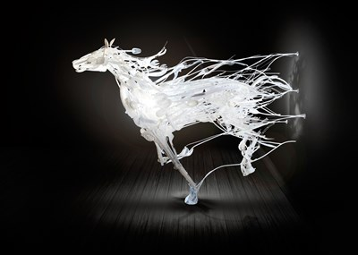 Art created by Sayaka Kajita Ganz using reclaimed plastic