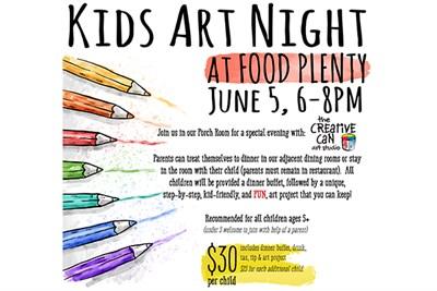 Kids Art Night at Food Plenty Poster