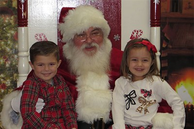 Santa on the Square with a boy and girl