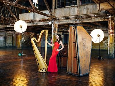 Bridget Kibbey with her harp