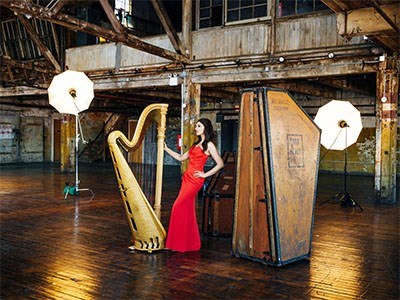 Bridget Kibbey with her harp