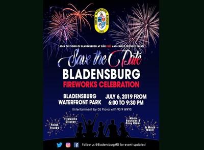 Bladensburg Fireworks save-the-date flyer.