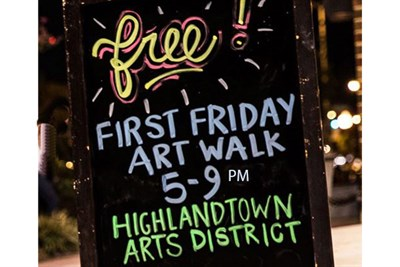 Chalk Board Promoting First Friday Art Walk