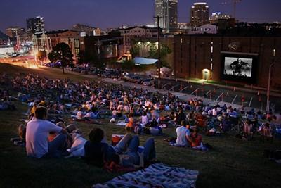 People enjoying AVAM's free outdoor film
