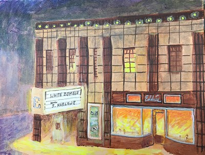 A Painting of the historic Ellicott City Theater