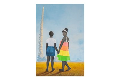 Amy Sherald. Planes, rockets, and the spaces in between, 2018.