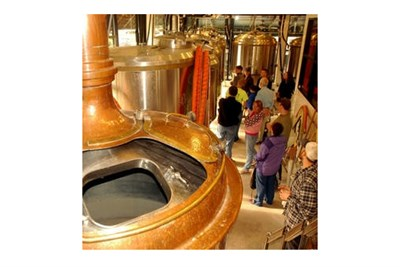 After a kayak trip on the Monocacy, people tour the Brewery