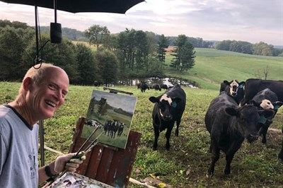 Artist Michael Gaudreau at the 2018 Harford Plein Air Festival