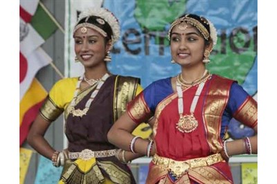 Two women dressed in traditional clothing