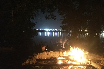 Campfire on the waterfront