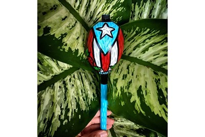A decorated maraca