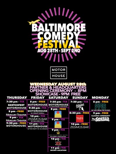 Baltimore Comedy Festival Schedule Flyer