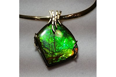 Ammolite Pendant with Diamonds