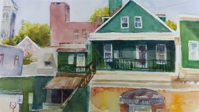 Water Color painting of the Phoenix Emporium in Ellicott City