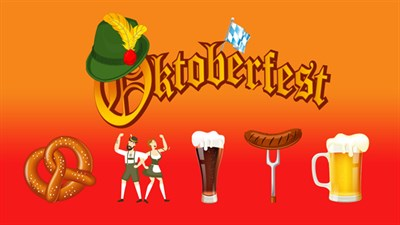 Havre de Grarce Oktoberfest poster with beer and pretzel and more