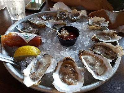 A platter of Pearl and Jesus Oysters from Ryleigh's Oyster in Baltimore