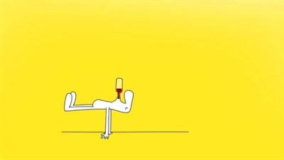 Stick Figure Does Yoga & Balances Wine for Brunch