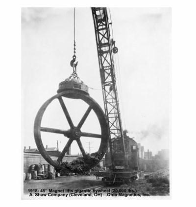 Magnet Lifts Gigantic 20,000 pound Flywheel