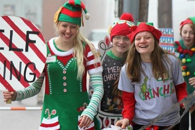 students dressed as elves