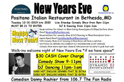 New Year's Eve Comedy at Positano flyer