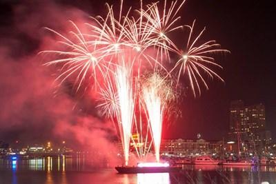 Fireworks in Baltimore's Inner Harbor