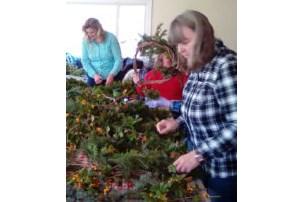 A wreath-making workshop underway