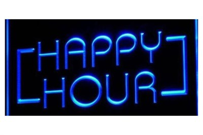 Happy Hour Neon Blue Sign