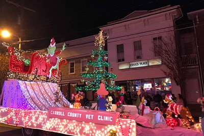 Carroll County Veterinary Clinic's float at the Miracle on Main Street Parade