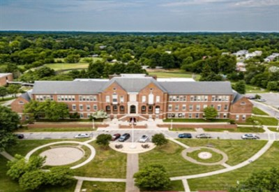 Isaacman flew his drone around Maryland Hall to get aerial views