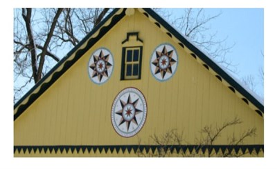 Hex signs on barn.