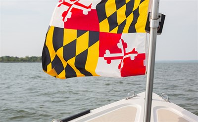 Boat with Maryland Flag Out on the Water