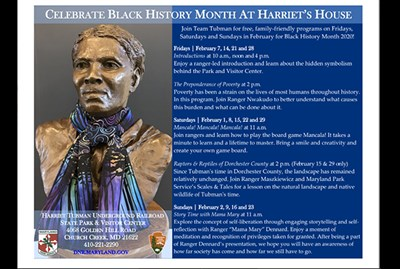 Celebrate Black History Month at Harriet's House poster