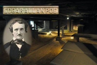 Edgar Allan Poe superimposed on photo of the catacombs