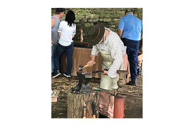 Blacksmiths in action at the Maryland Iron Festival.
