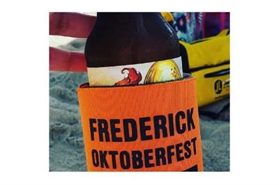 beer bottle wrapped in Frederick Oktoberfest holder