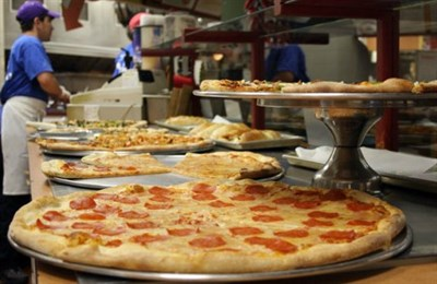 Pizza made with fresh dough daily.