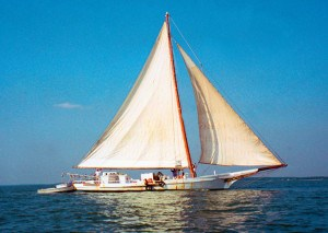 The Skipjack Rebecca T. Ruark under sail.