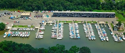 Aerial view of Chesapeake Yachting Center.