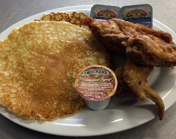 Pancakes and chicken from the Dough Roller -