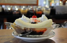 Freshly dipped banana split -