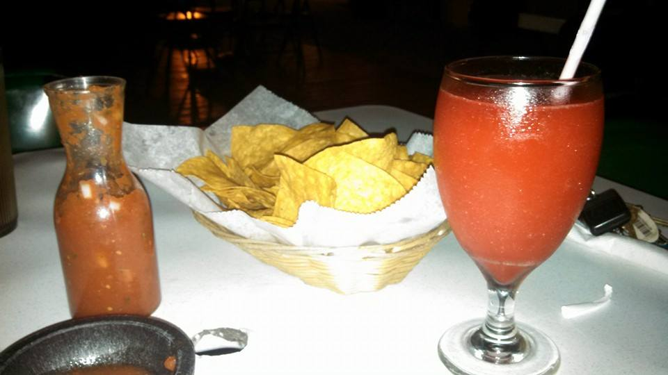 Chips, salsa and a drink to start dinner.