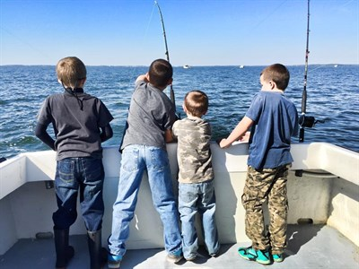 Young fishermen enjoy the waters off Tilghman Island.